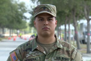 Specialist Daniel Herrera, Combat Medic, is currently on his 3rd deployment