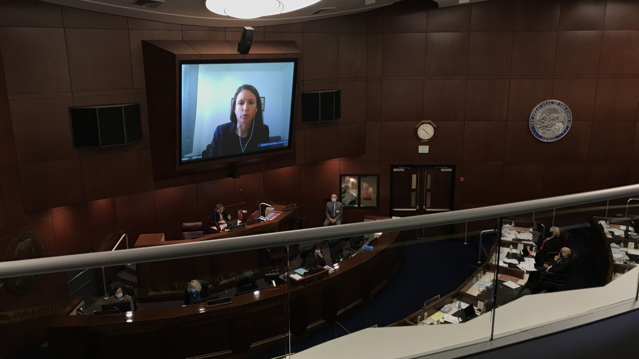 These are photos inside the Nevada Senate Chamber during a special session called in July 2020 amid the COVID-19 Pandemic