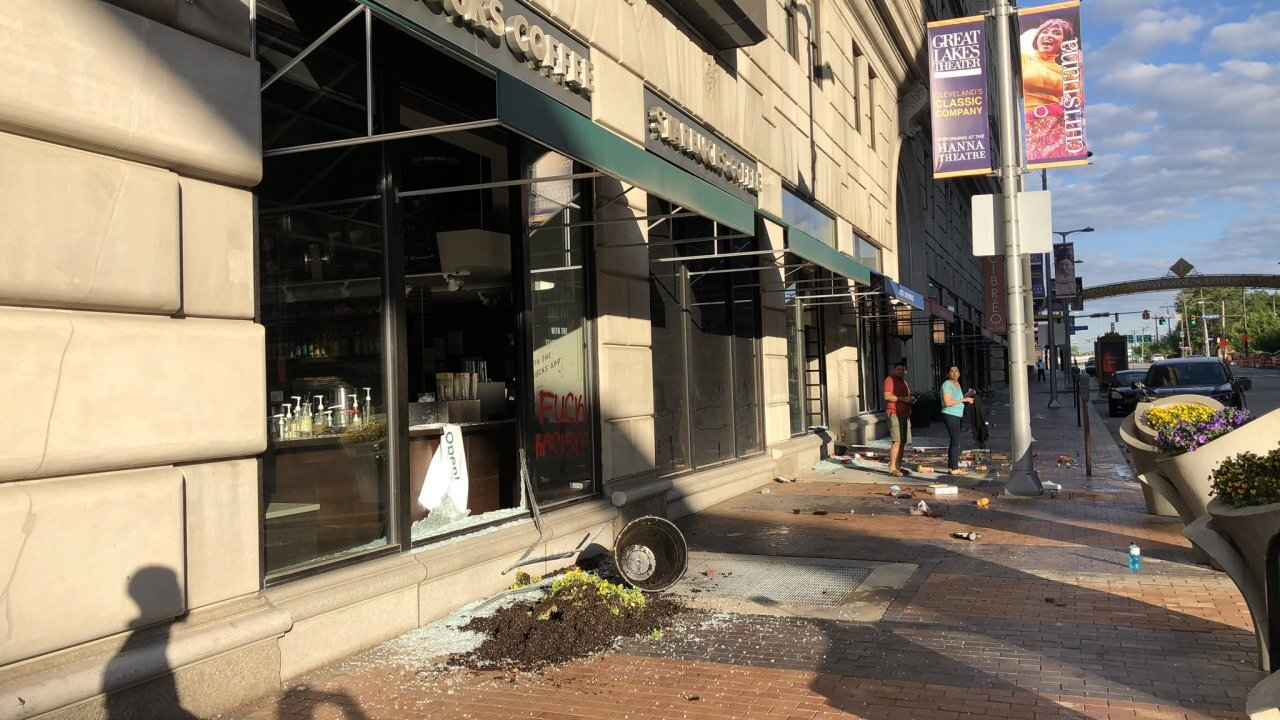 Downtown Cleveland businesses suffered damage and looting after May 30 riots.
