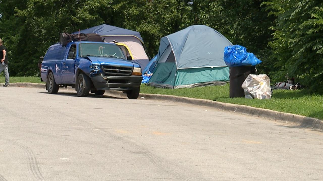 Homeless camp at Penn Valley Park