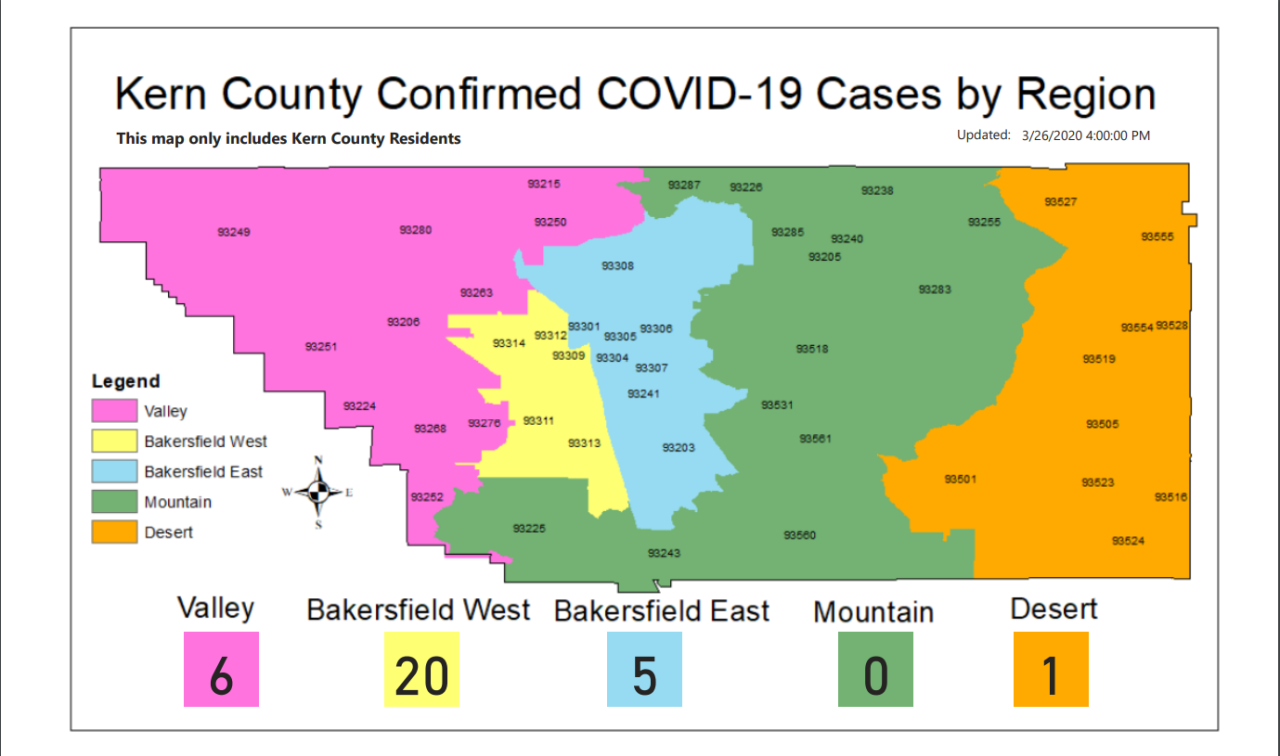 Kern County Confirmed COVID-19 Cases by Region as of March 26 at 5 p.m.