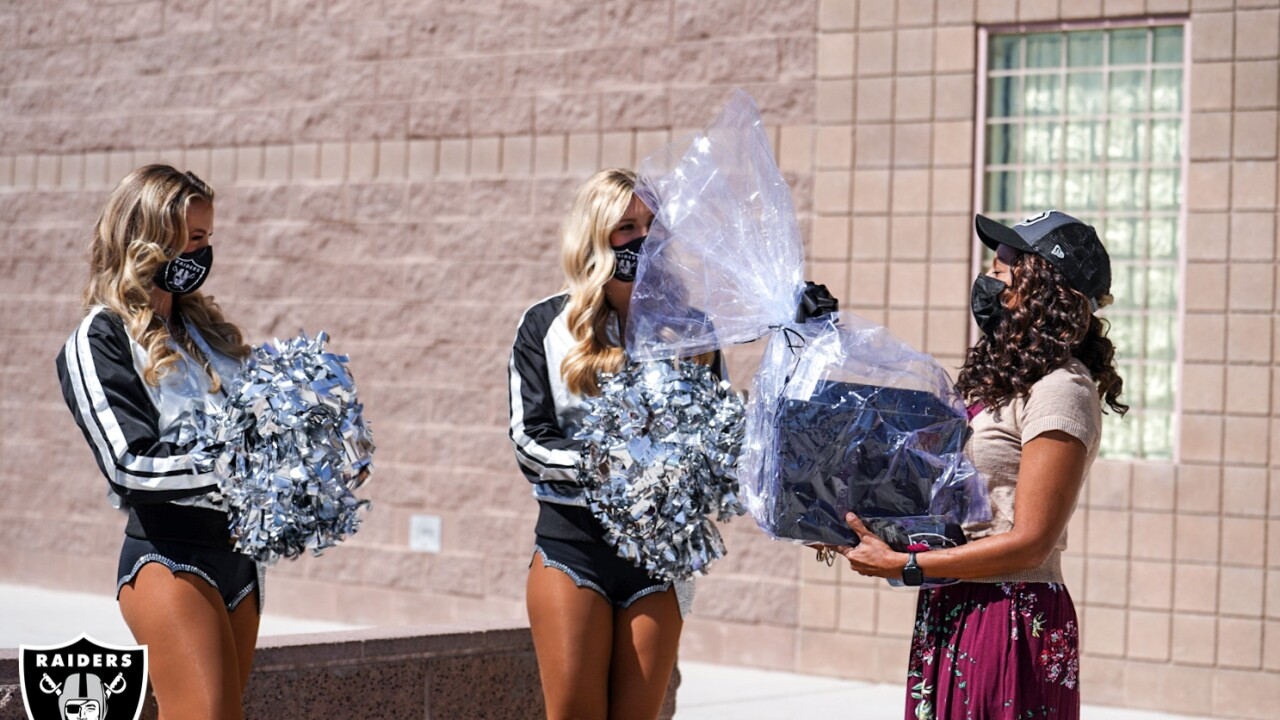Raiderettes Nicole and Camryn with Ms. Millwood, Marvin M. Sedway Middle School.jpg