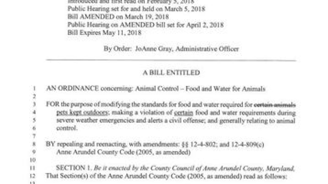 Law mandates revisions on food, water for pets