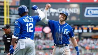 Jorge_Soler_Hunter_Dozier_Kansas City Royals v Detroit Tigers