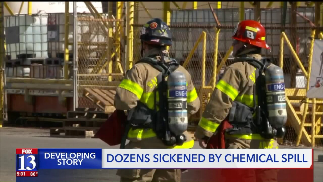 56 people suffer respiratory symptoms after chemical spill in Salt Lake City prompts hazmat response