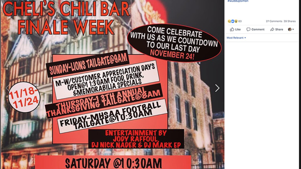 Detroit's Cheli's Chili Bar announces they are shutting down on Facebook and Twitter