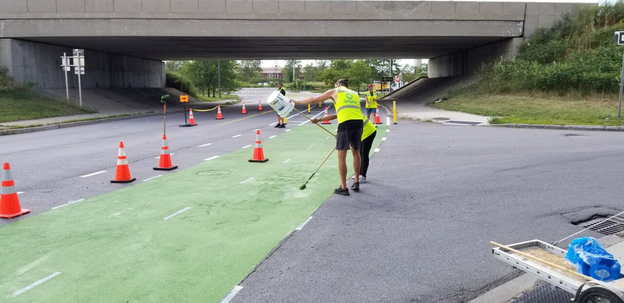 Workers are already installing the bike path