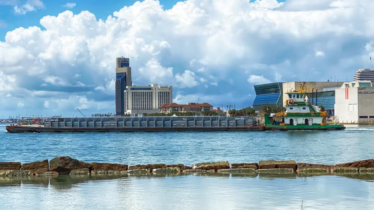 Downtown Corpus Christi; Showers in the Distant - From: Facebook Weather Watcher Lu Ann Kingsbury