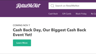You can get 20 percent cash back for shopping at major retailers by visiting this website Thursday