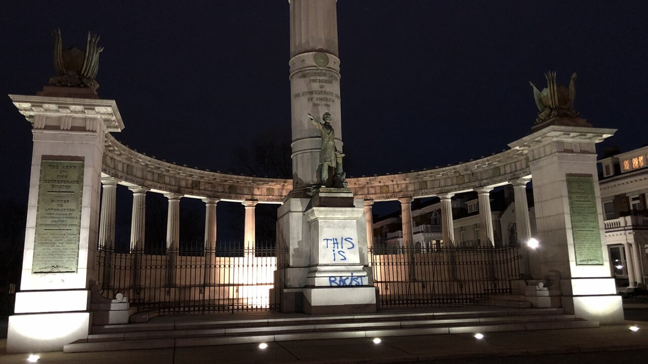 Someone spray painted Confederate monuments in Virginia