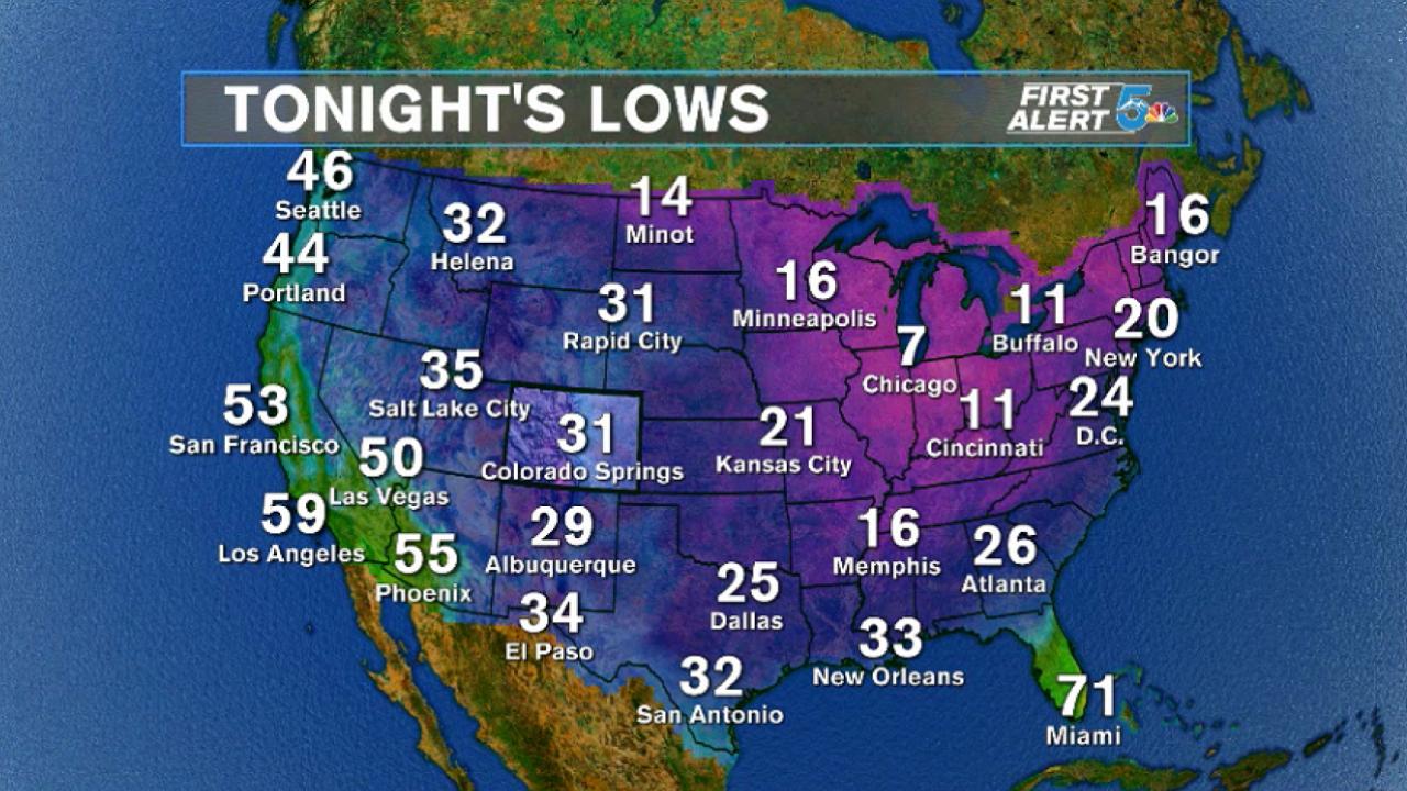 Tonight's forecast lows