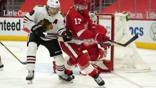 Patrick Kane, Filip Hronek Blackhawks Red Wings Hockey