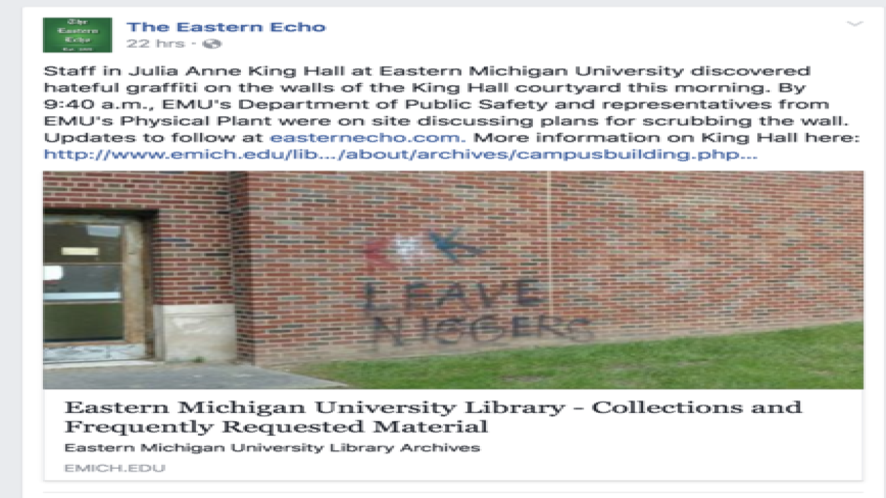 KKK, racial slur painted on EMU building