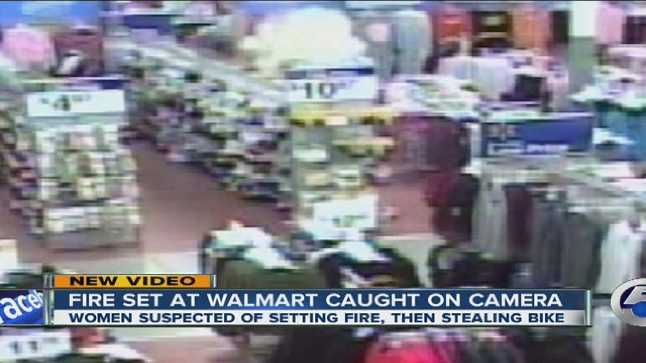 VIDEO: Clothing wrack set on fire in Wal-Mart