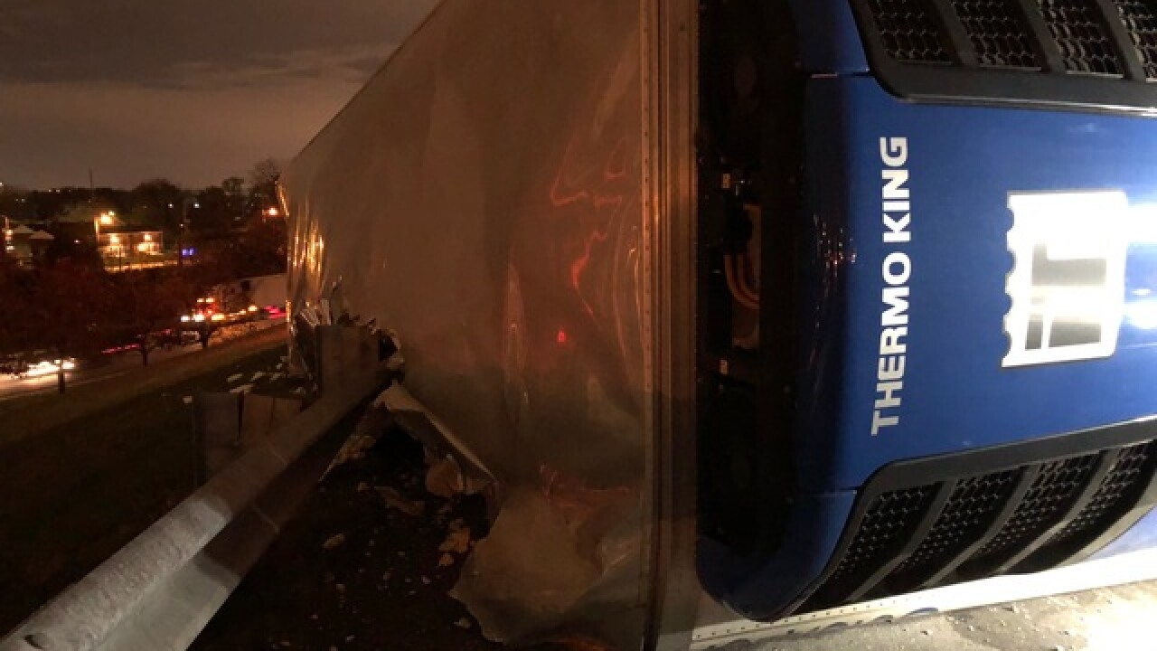 Truck carrying 50K pounds of ham crashes