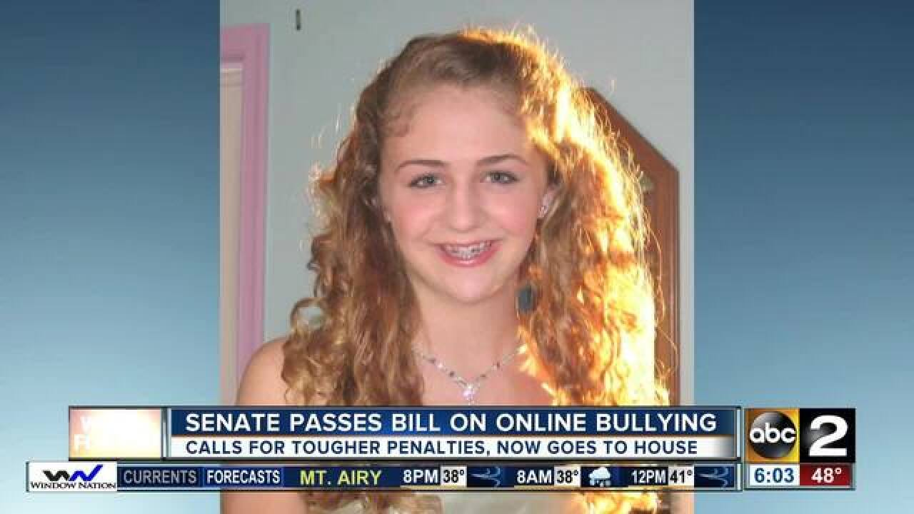 MD Senate approves cyberbullying law