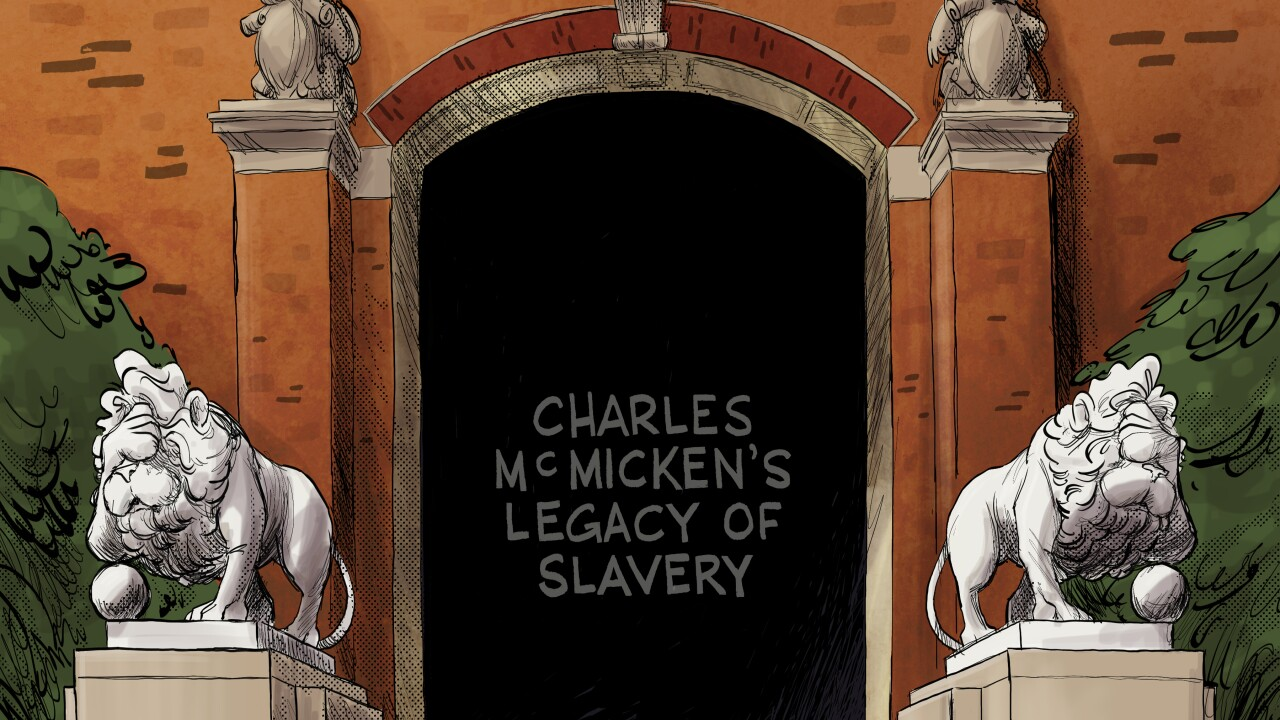 """Picture of an illustration of the lions outside of McMicken Hall with the text """"Charles McMicken's legacy of slavery"""" written in the middle of the door opening."""