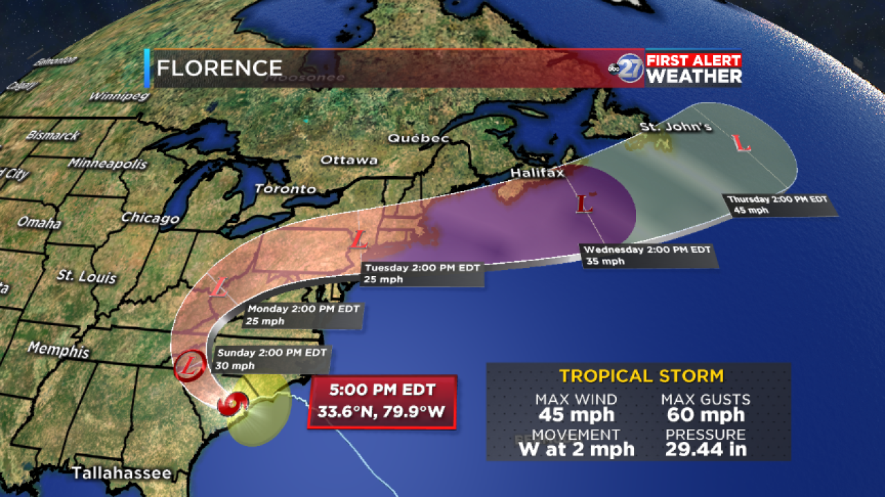 Tropical Storm Florence track (09/15/2018)
