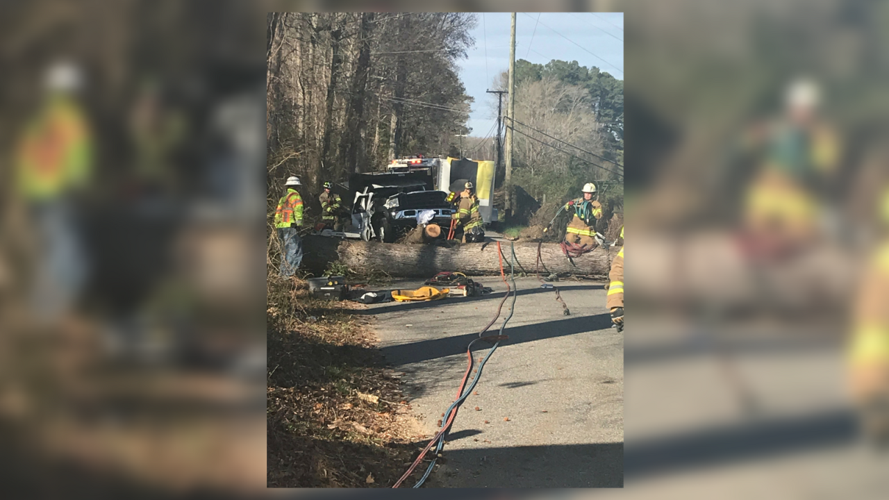 One killed, another trapped after tree falls on truck in James CityCounty