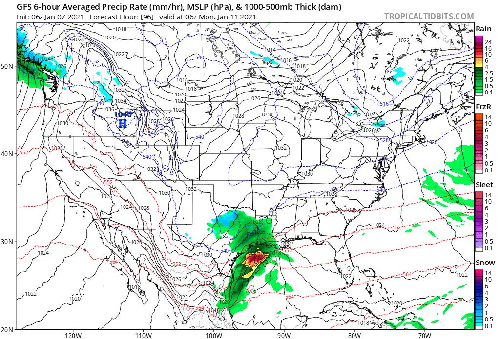 Surface Forecast Valid Sunday Night