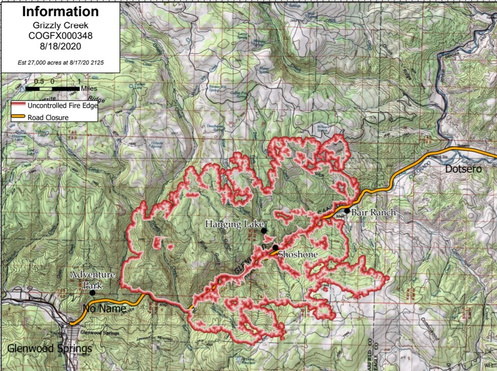 Grizzly Creek Fire as of morning of Aug 18 2020
