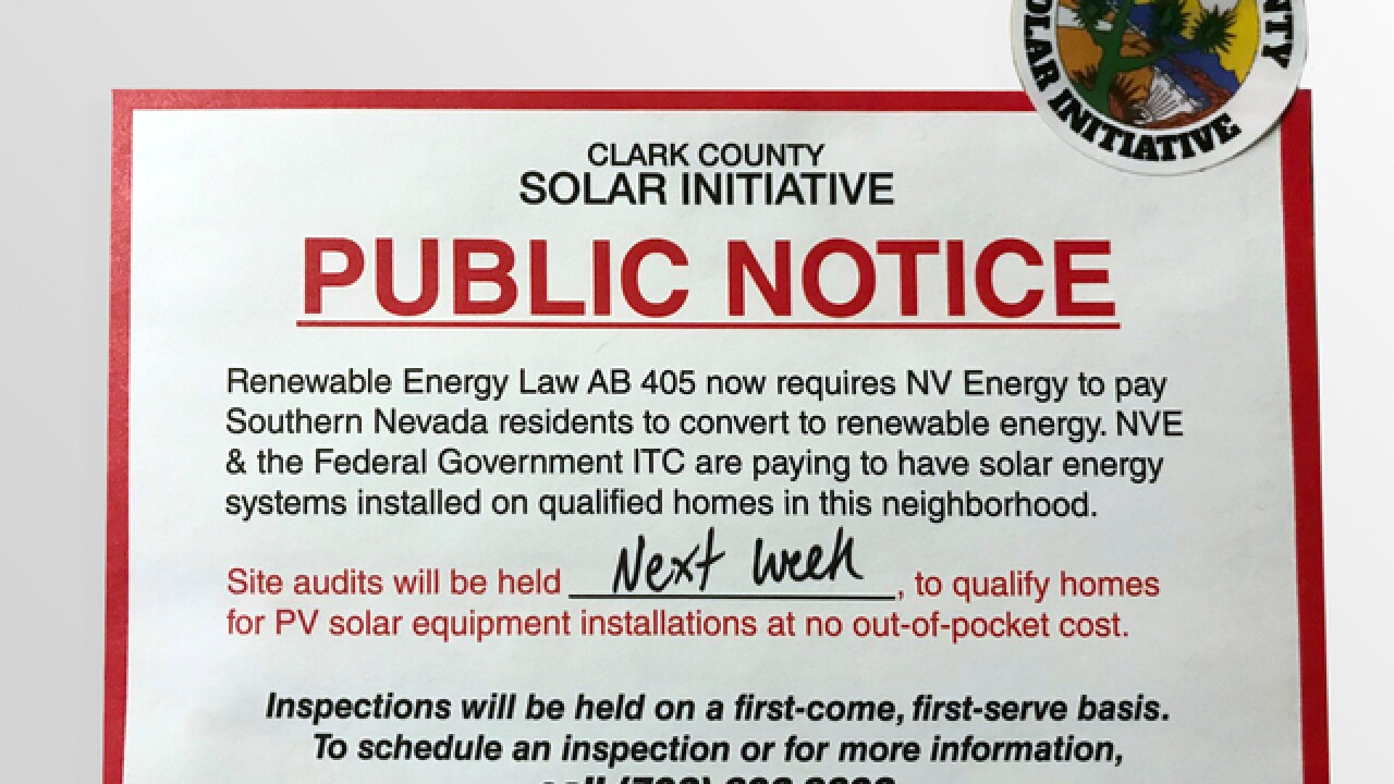 Clark County warns of 'deceptive' solar notice