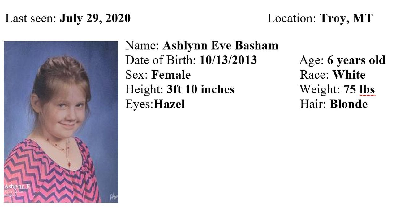 The Montana Department of Justice has issued a Missing/Endangered Person Advisory for Ashlynn Eve Basham.