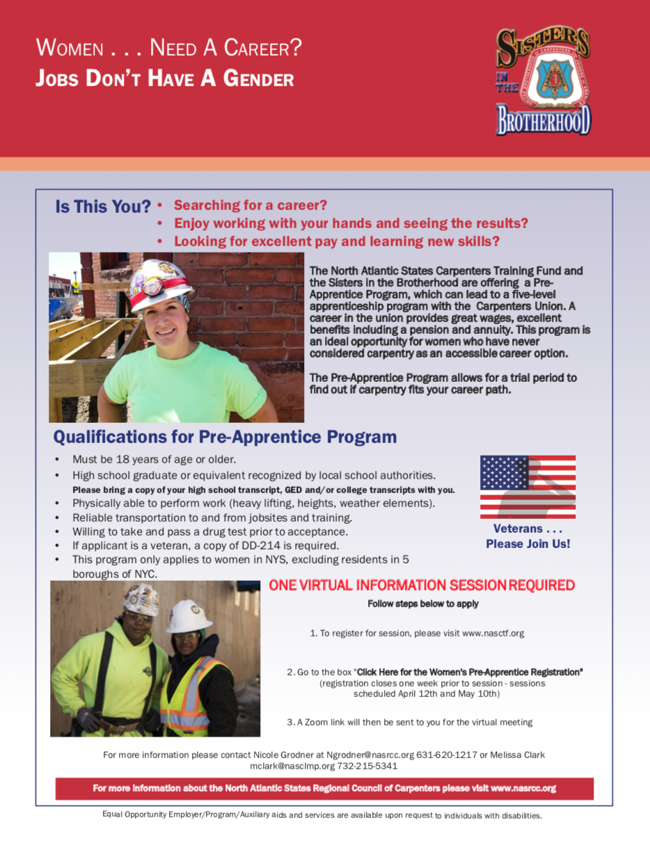 NASRCC's program sets women up for an apprenticeship in carpentry