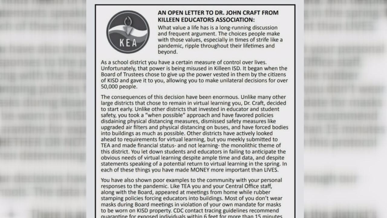 KEA releases letter raising concerns about KISD COVID-19 prevention