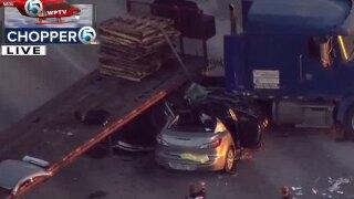Semi, car crash on U.S. 27 northbound near South Bay