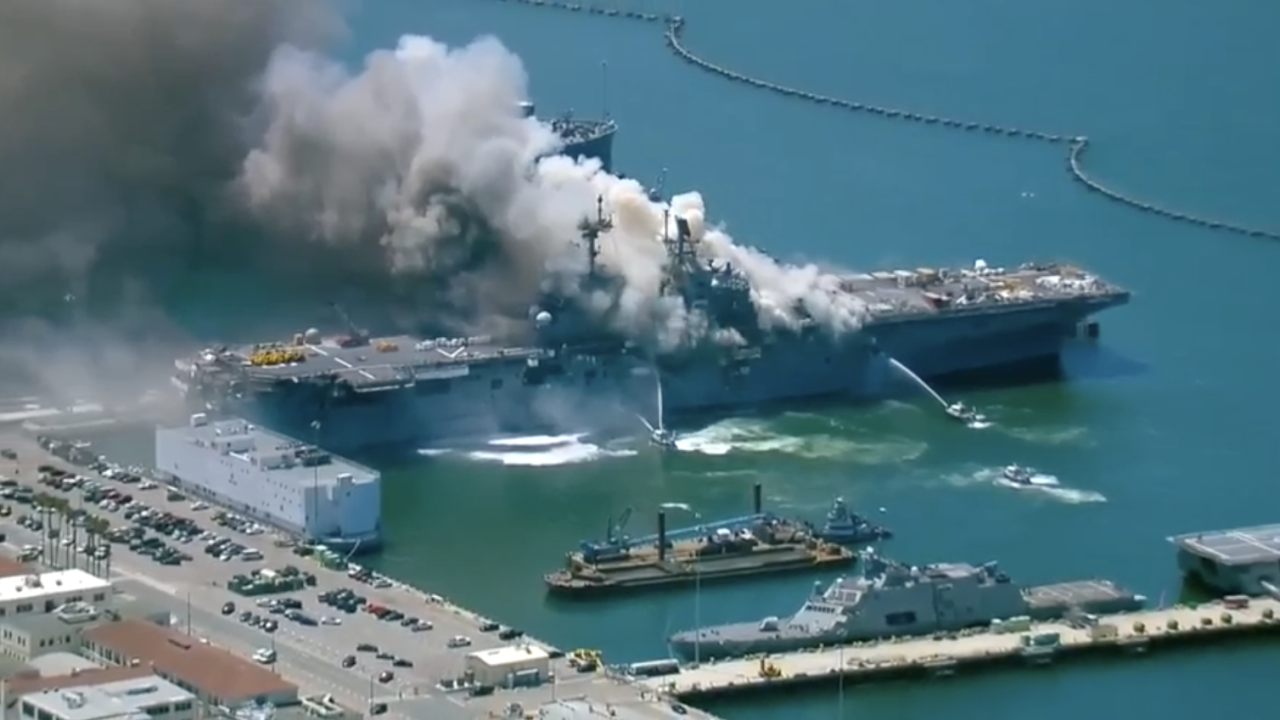 Ship catches fire at Naval Base San Diego