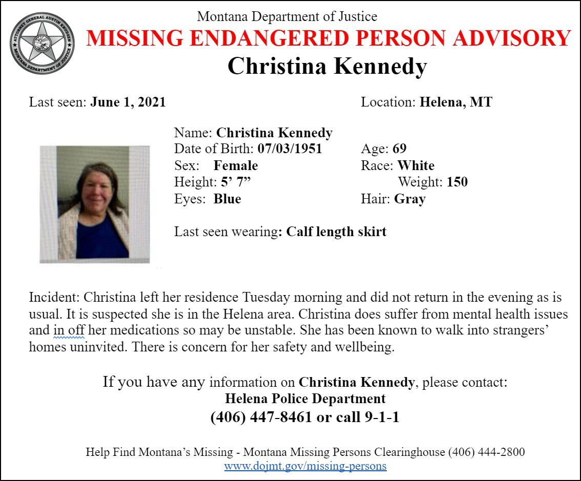 Missing/Endangered Person Advisory issued for Helena woman