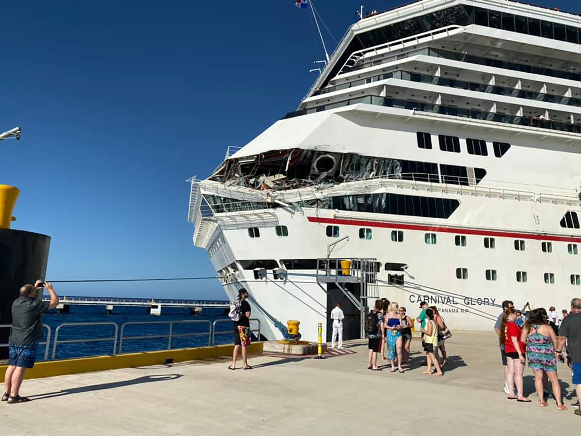 Photos: Six people injured after two Carnival cruise ships collide in Cozumel,Mexico