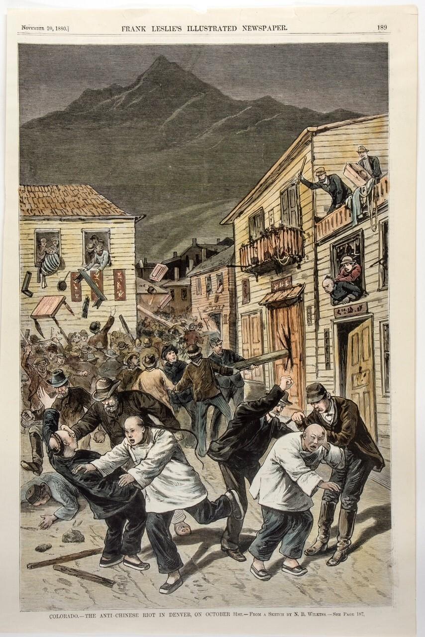 Anti-Chinese Riot - Oct. 31, 1880 Illustration