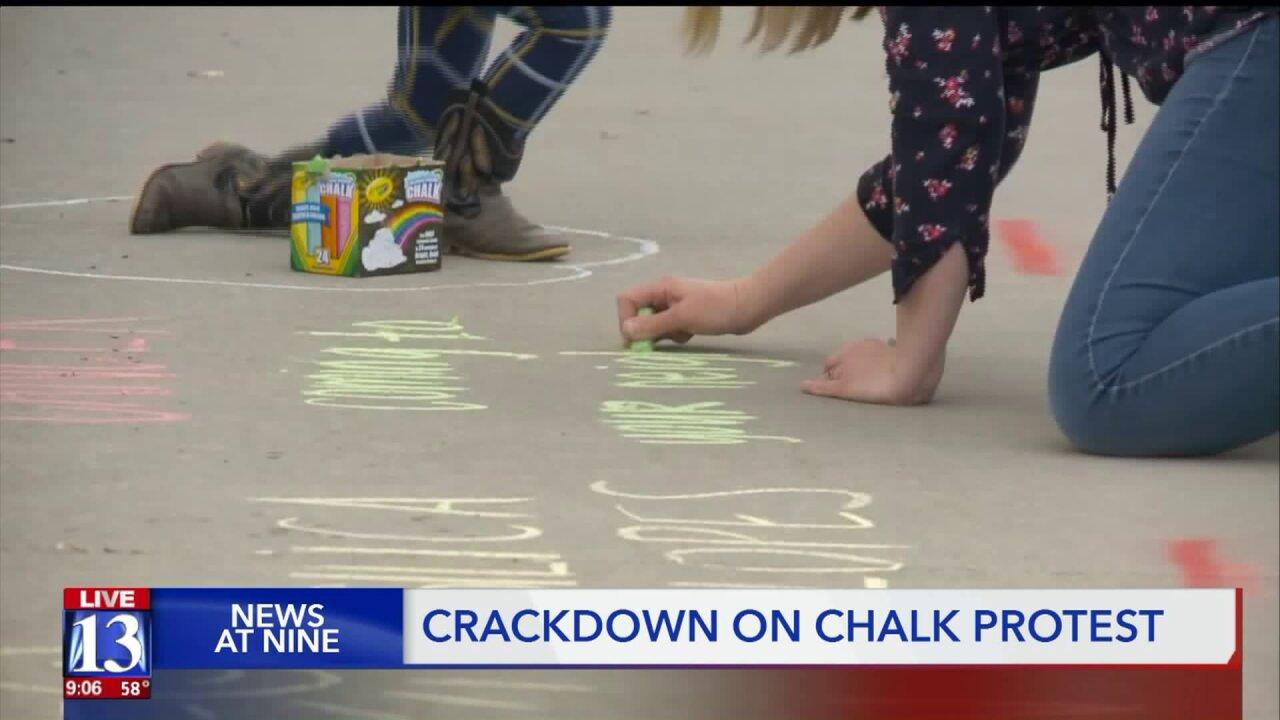 Chalk art protest shut down by Utah city for criminalmischief