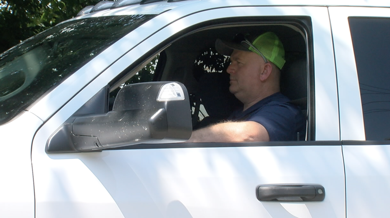 Don Allen of Somerville driving in New Miami where he got a speeding ticket.