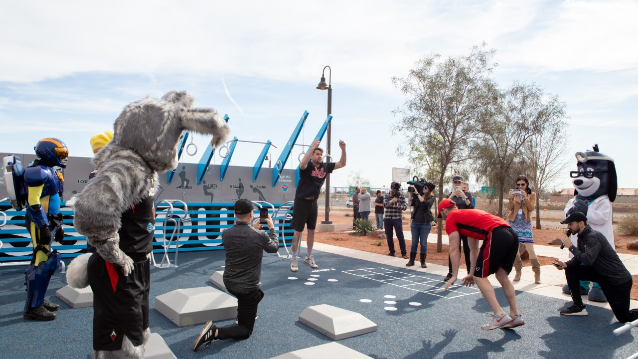 National Fitness Campaign- Las Vegas Fitness Court Unveiling Event- Fitness Challenge with mascots and UNLV students.jpg