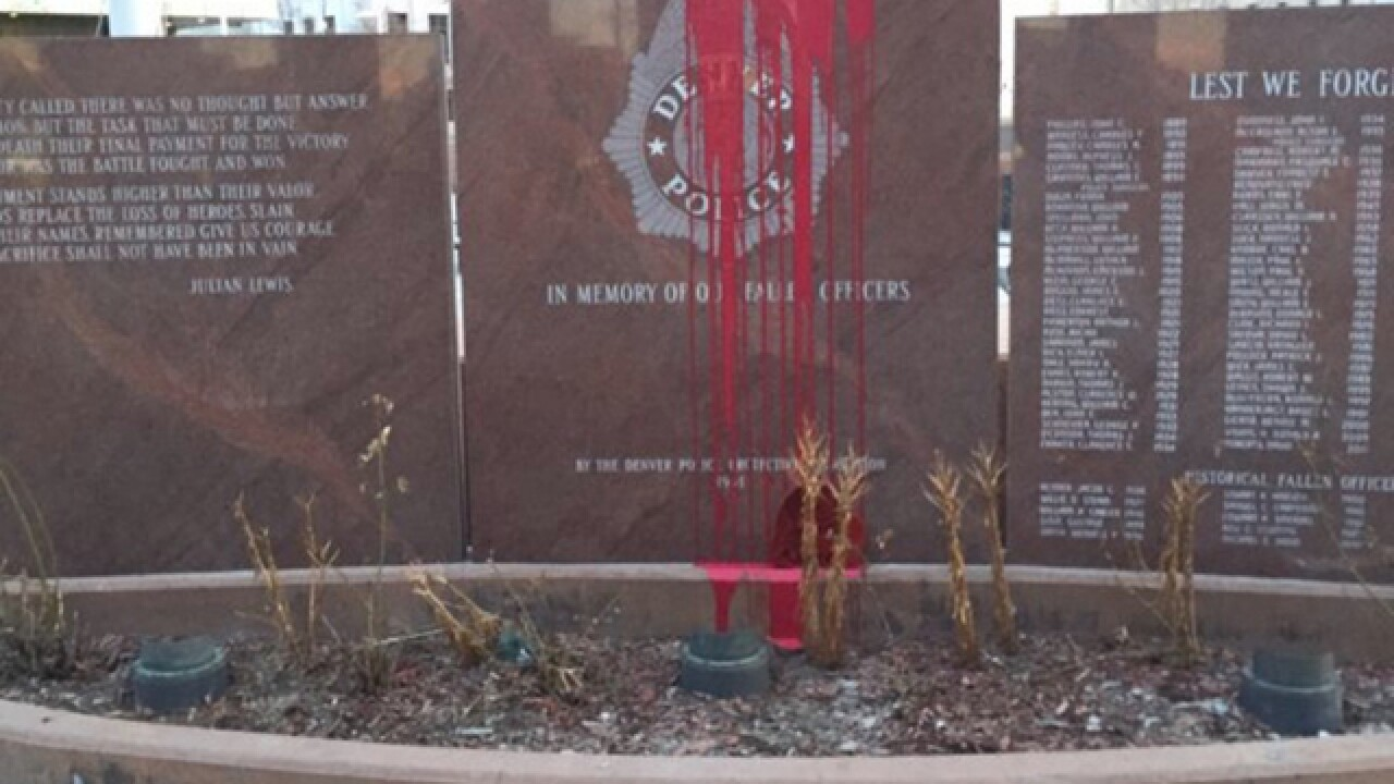 Red paint poured on Fallen Officers Memorial