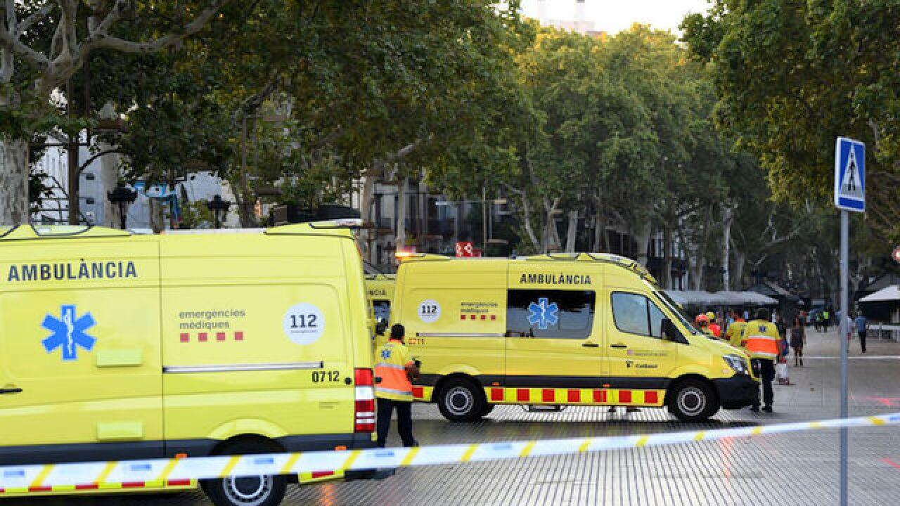 Van runs into crowd in Barcelona tourist area
