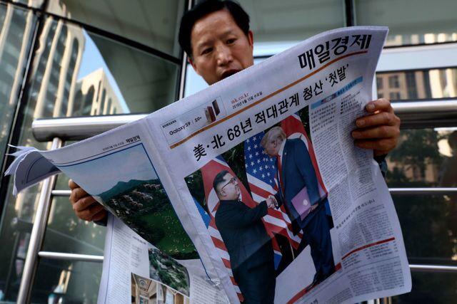 The scene around the Trump-Kim summit