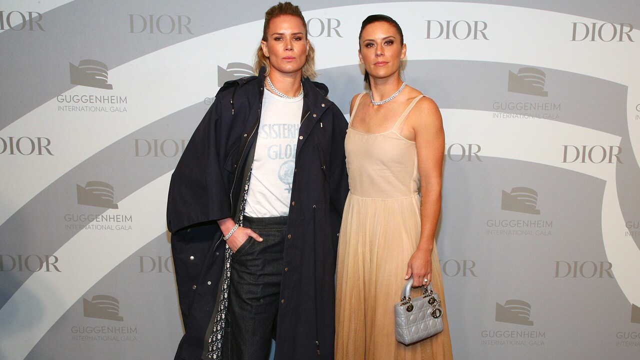 Ashlyn Harris (L) and Ali Krieger attend 2019 Guggenheim International Gala Pre-Party at Solomon R. Guggenheim Museum on November 13, 2019 in New York City.