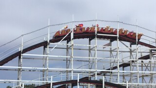 Belmont Park's Giant Dipper tested using stuffed animals.jpg