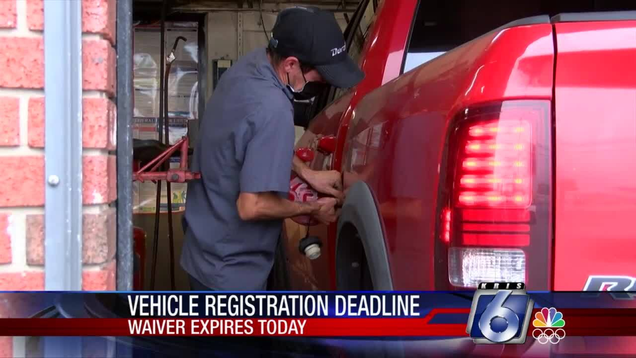 Vehicle registration deadline looms today