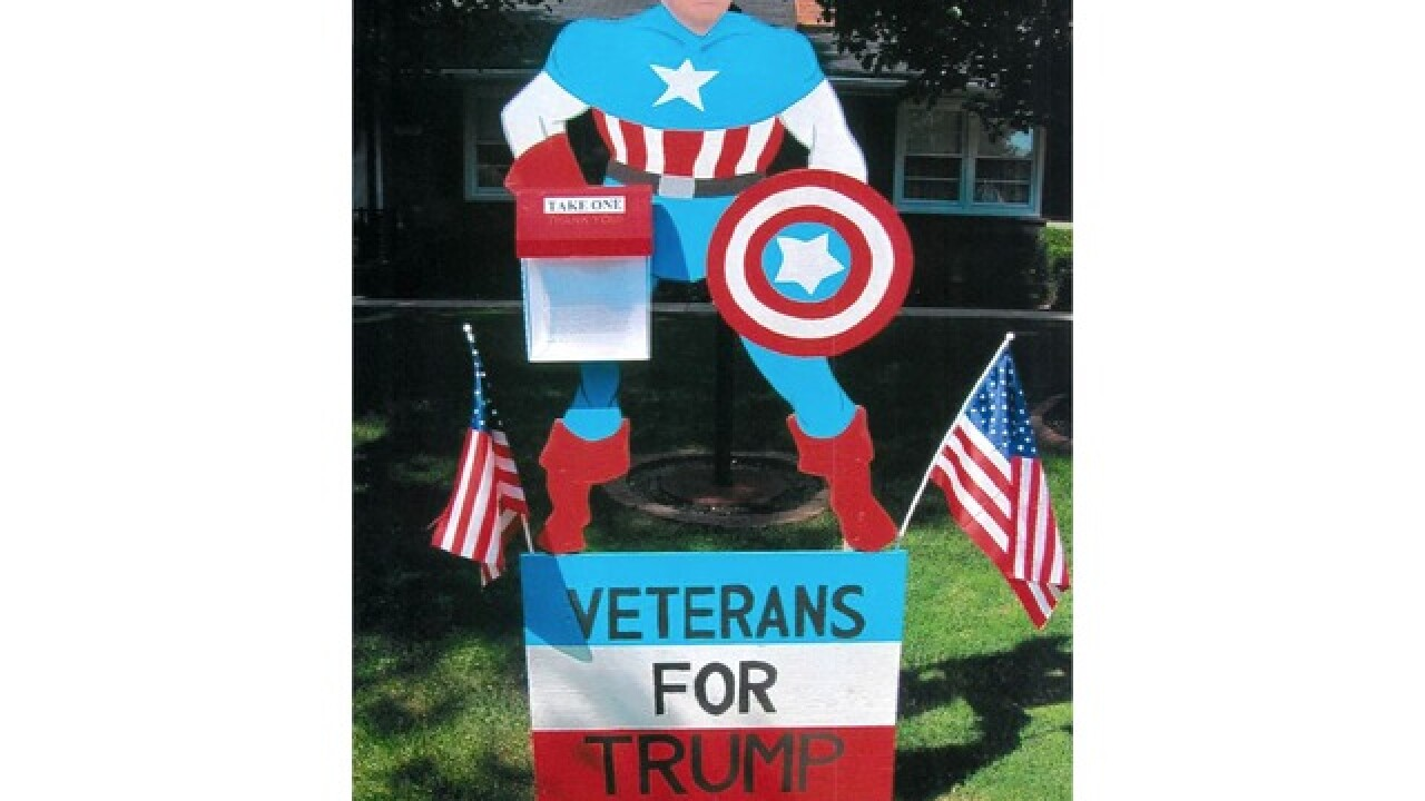 Stolen: Lawn sign shows Trump as Captain America
