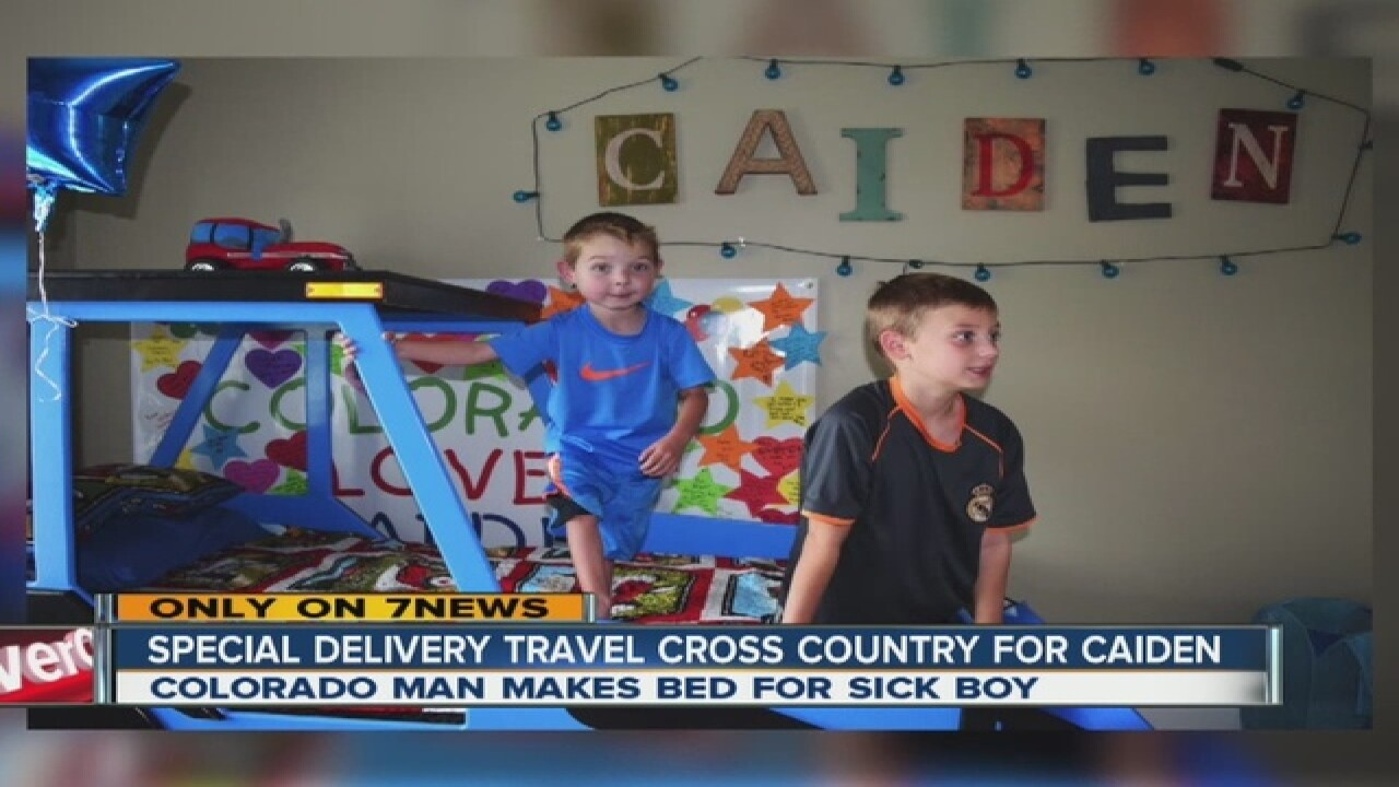 Boy's dreams come true with tractor bed