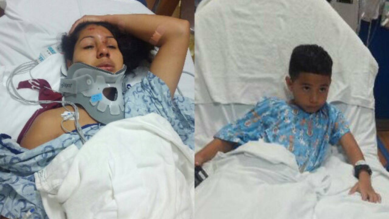 Mom, son recovering after being hit at bus stop