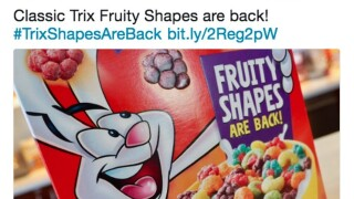 Trix is bringing back its fruit shaped-cereal pieces from the 90s