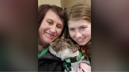 Jayme Closs with her aunt and dog after she escaped