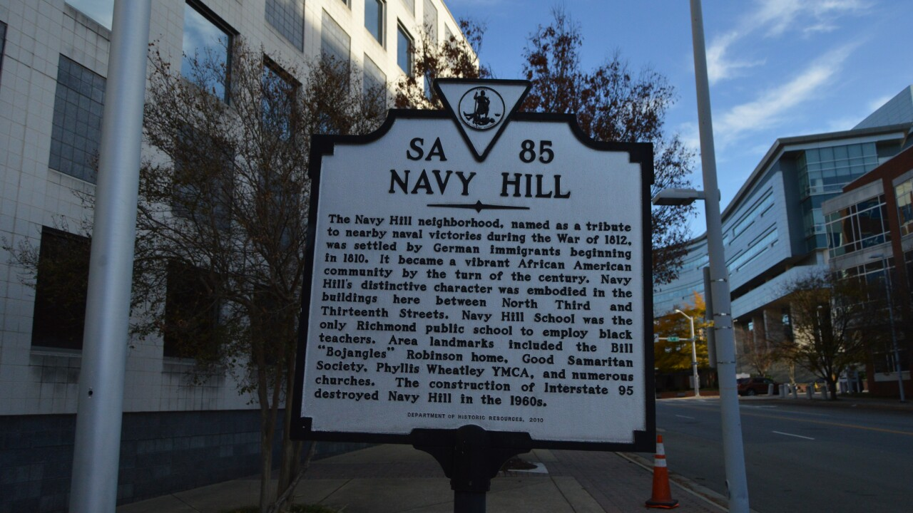 What happened to Richmond's thriving black community of Navy Hill