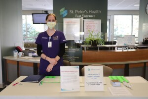 COVID screening staff at St. Peter's Health